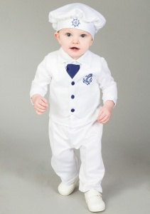Baby Boys White Navy Christening Suit Boys Sailor Outfit